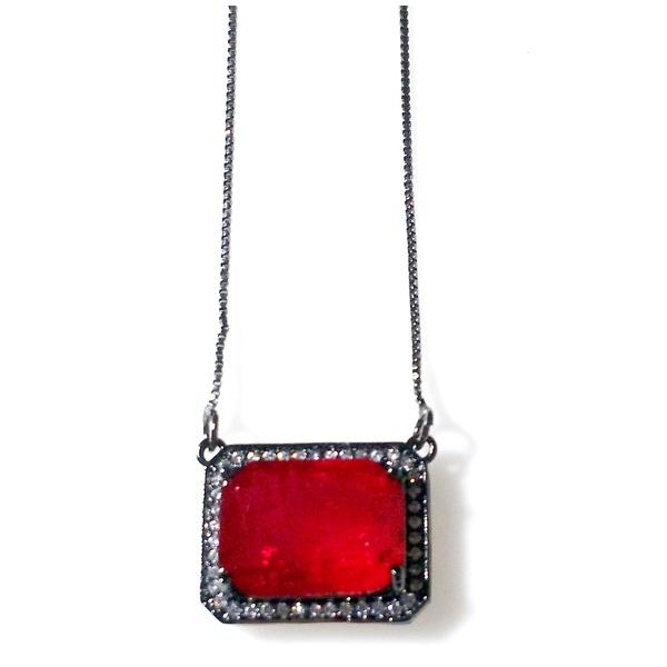 Colar Folheado a Ródio Negro com Pedra Fusion Vermelha