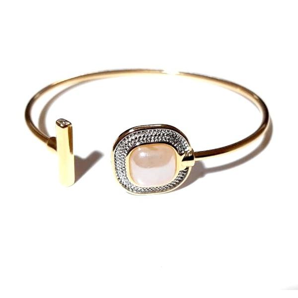 Bracelete Folheado a Ouro 18K e Ródio Branco com Quartzo Rosa Perolada