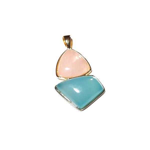 Pingente Banhado a Ouro com Quartzo Rosa e Ágata Azul