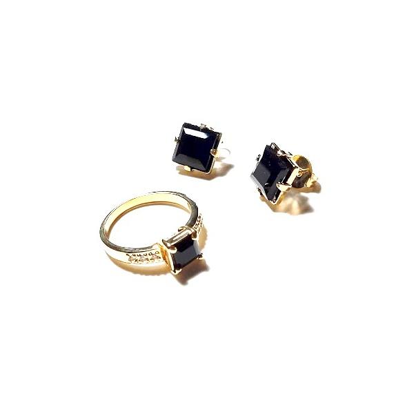 Conjunto de Brinco e Anel Folheado a Ouro 18K com Cristal