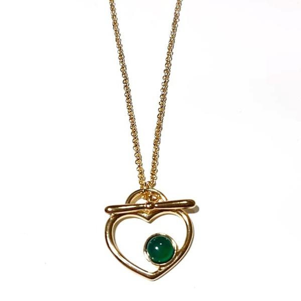 Colar Folheado a Ouro 18K Coração com Ágata Verde