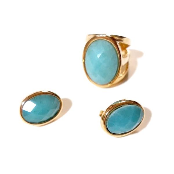 Conjunto de Brinco e Anel Banhados a Ouro com Ágata Azul Facetada