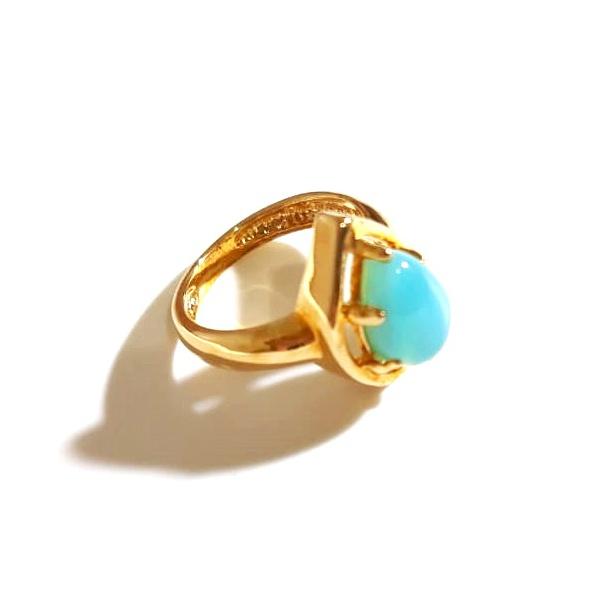 Anel Folheado a Ouro 18K com Ágata Azul