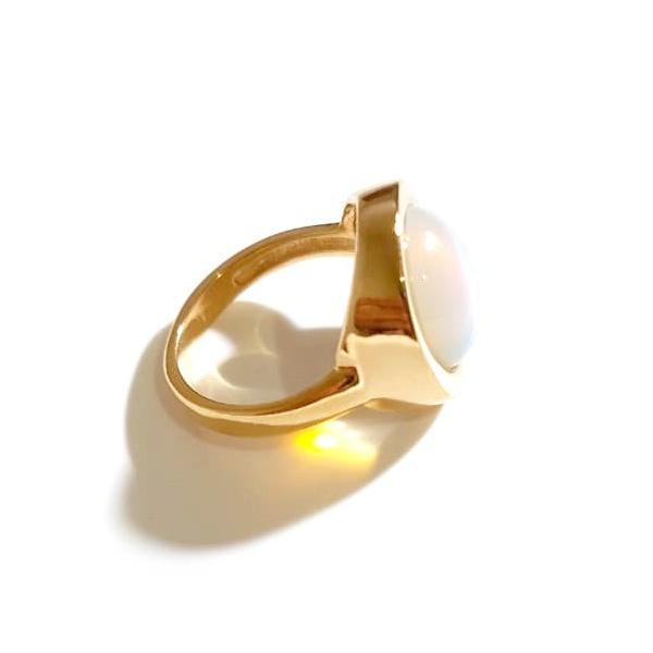 Anel Folheado a Ouro 18K com Pedra da Lua