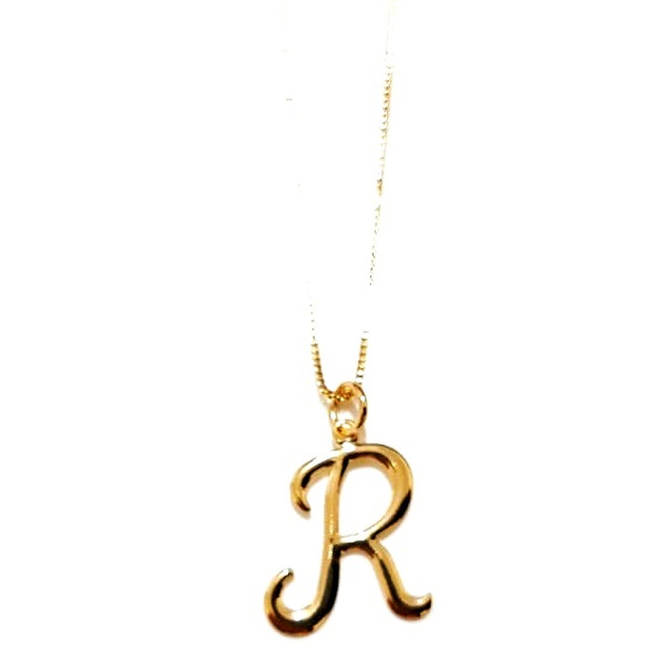 Colar Banhado a ouro com Pingente Letra R