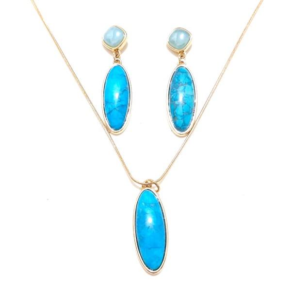 Conjunto de Brinco e Colar Banhados a Ouro com Ágata Azul Perolada e Howlita Azul