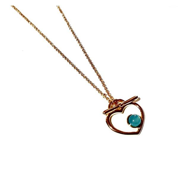 Colar Coração Folheado a Ouro 18K com Ágata Azul