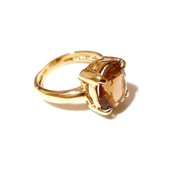 Anel Folheado a Ouro 18K com Cristal Lapidado