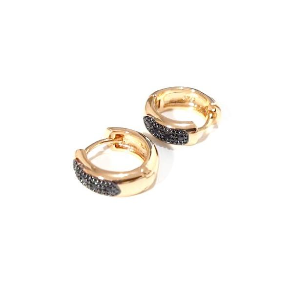 Argola Pequena Banhada a Ouro com Detalhe em Zircônias Negras