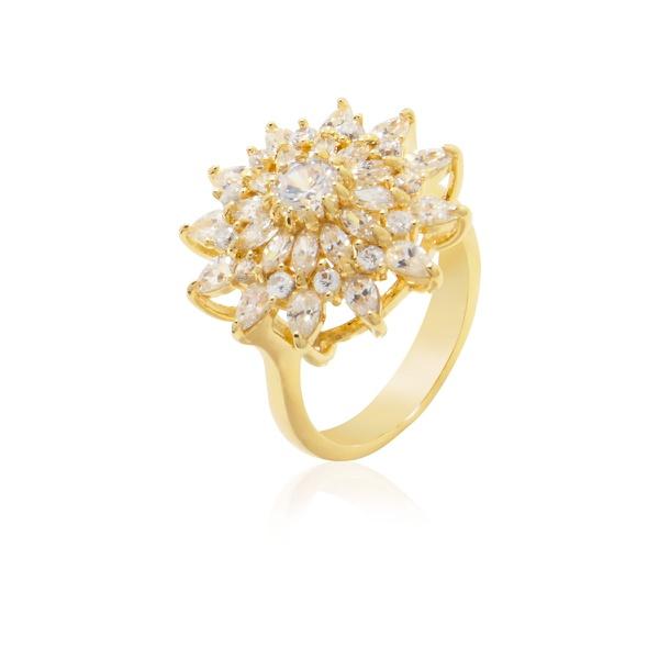 Anel Flor Banhado a Ouro com Zircônias e Cristal