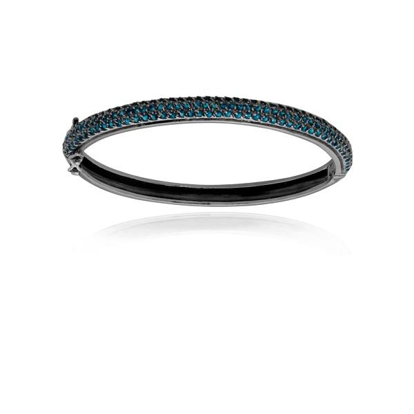 Bracelete Banhado a Ródio Negro com Safira