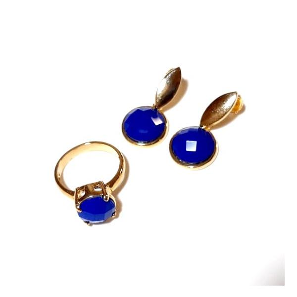 Conjunto de Brinco e Anel Folheados a Ouro com Ágata Azul Royal