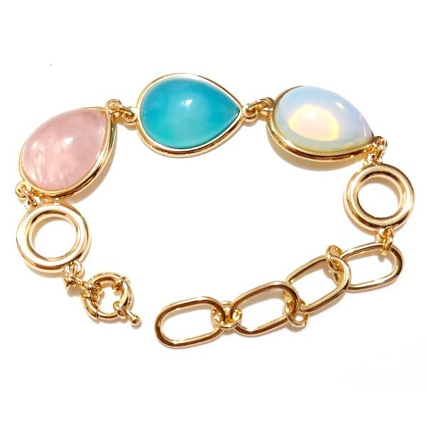 Pulseira Banhada a Ouro com Quartzo Rosa, Ágata Azul e Pedra da Lua