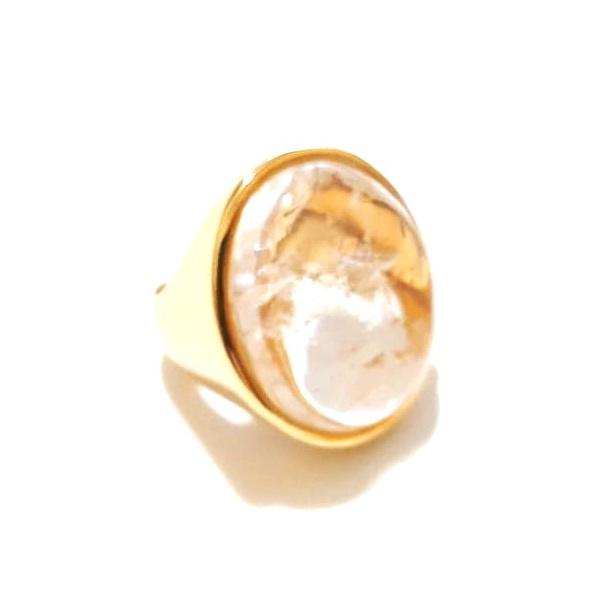 Anel Banhado a Ouro com Cristal de Rocha