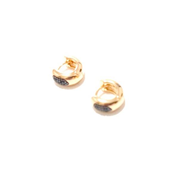 Argola Mini Banhada a Ouro com Detalhe em Zircônias Negras