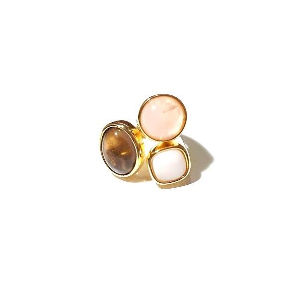 Anel Banhado a Ouro 18K com Quartzo Rosa, Madrepérola e Quartzo Fumê