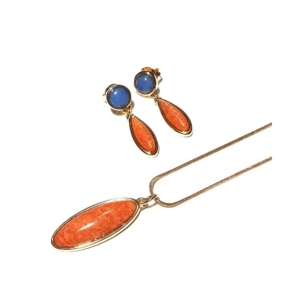 Conjunto de Brinco e Colar Banhado a Ouro com Amazonita Laranja e Quartzo Azul Royal
