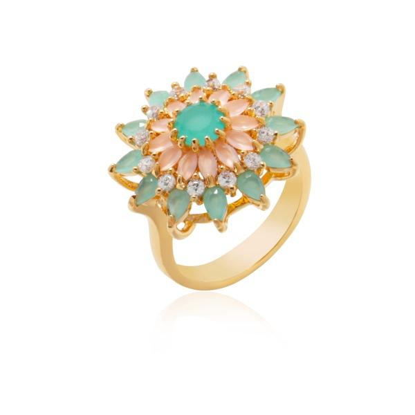 Anel Flor Banhado a Ouro com Zircônias Multicoloridas e Cristal