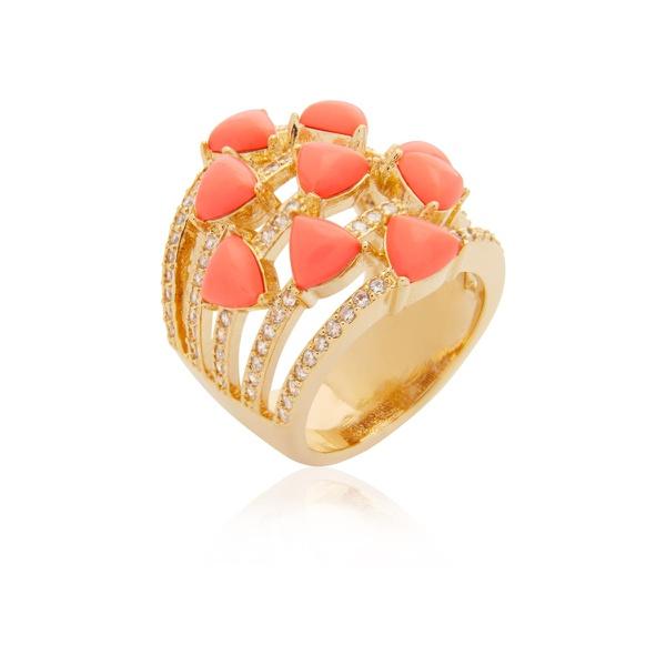Anel Banhado a Ouro com Coral