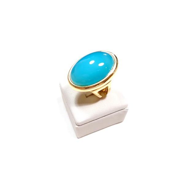 Anel Banhado a Ouro com Ágata Azul