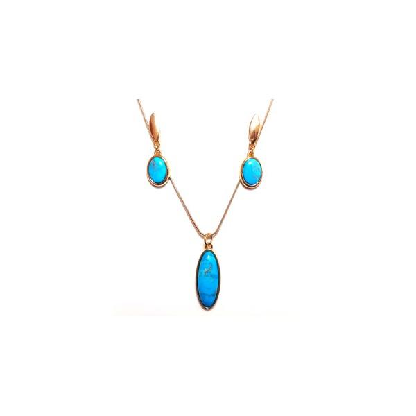 Conjunto de Brinco e Colar Banhado a Ouro com Howlita Azul