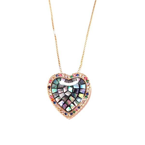 Colar Banhado a Ouro e Coração com Abalone e Zircônias Multicoloridas