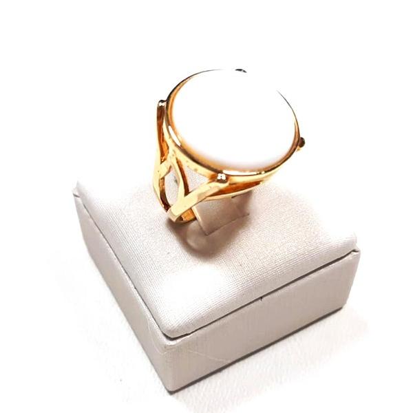 Anel Banhado a Ouro com Porcelana