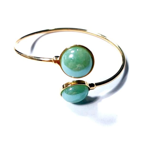 Bracelete Banhado a Ouro com Quartzo Verde