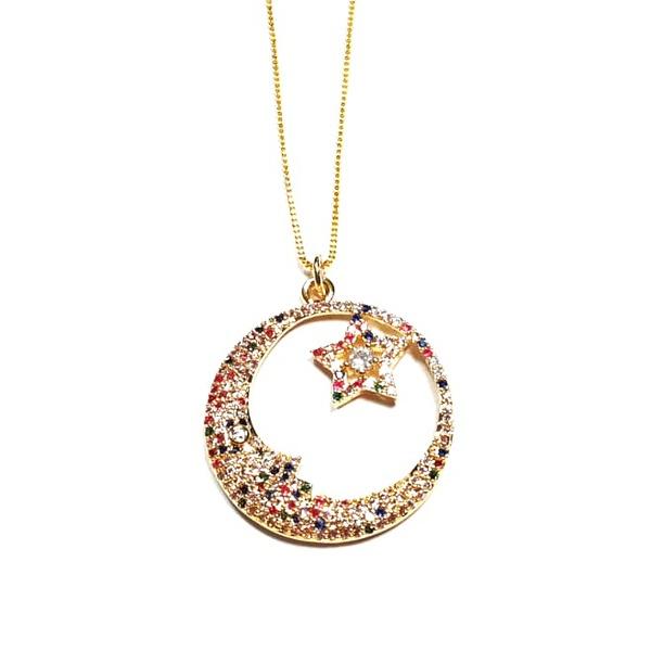 Colar Banhado a Ouro com Pingente Cravejado de Zircônias Multicoloridas Lua e Estrela