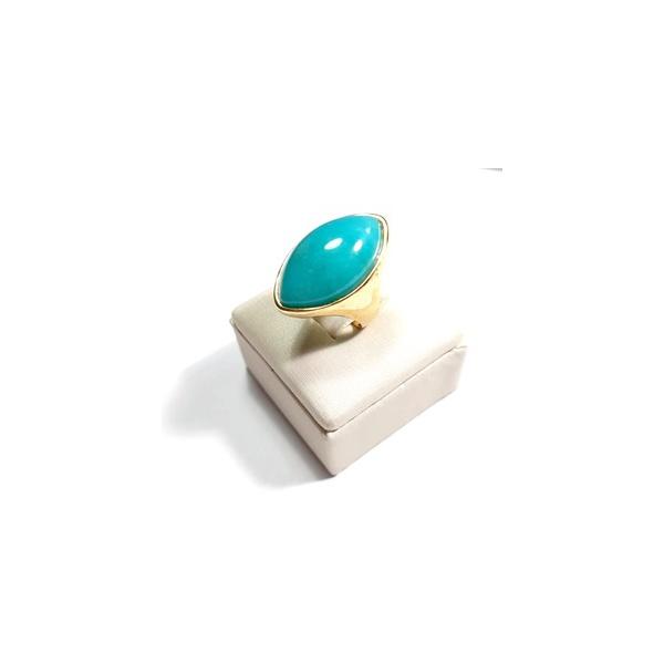 Anel Banhado a Ouro com Quartzo Verde Turquesa