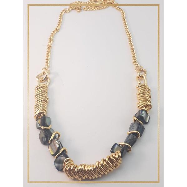 Colar folheado à Ouro 18k Cascalhos Naturais Azul Escuro