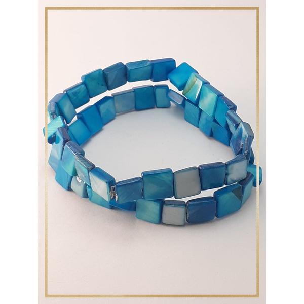 Pulseira Bracelete Confeccionada com madrepérolas em Fio silicone alta resistência Azul