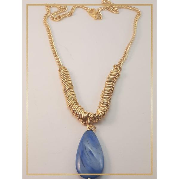 Colar Folheado Ouro 18k Madre Pérola Azul