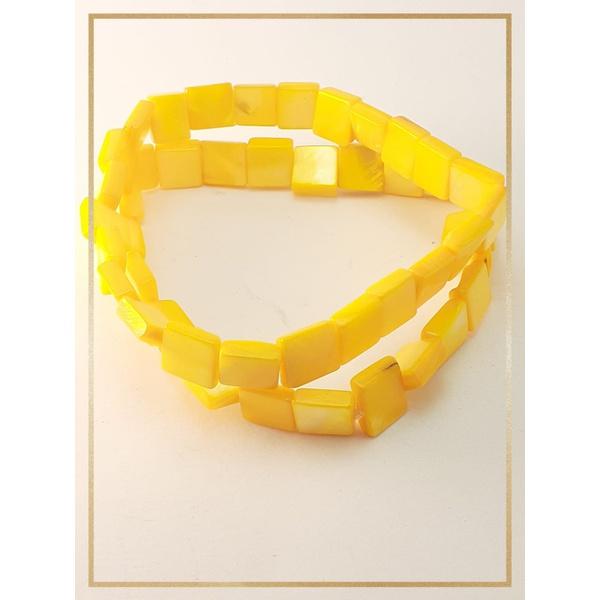 Pulseira Bracelete Confeccionada com madrepérolas em Fio silicone alta resistência Amarelo