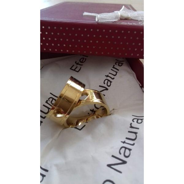 Anel de aliança folheado à ouro 18k Coração Vazado