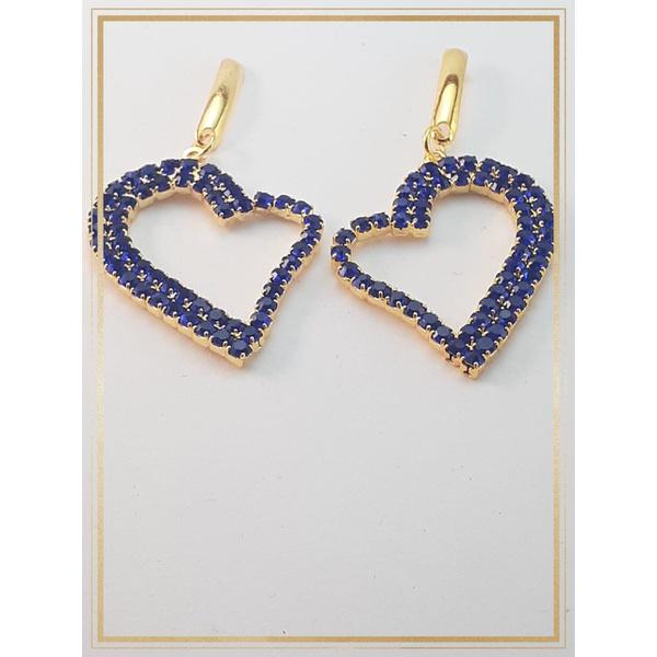 Brinco folheado à Ouro 18k Zircônias Azul Coração