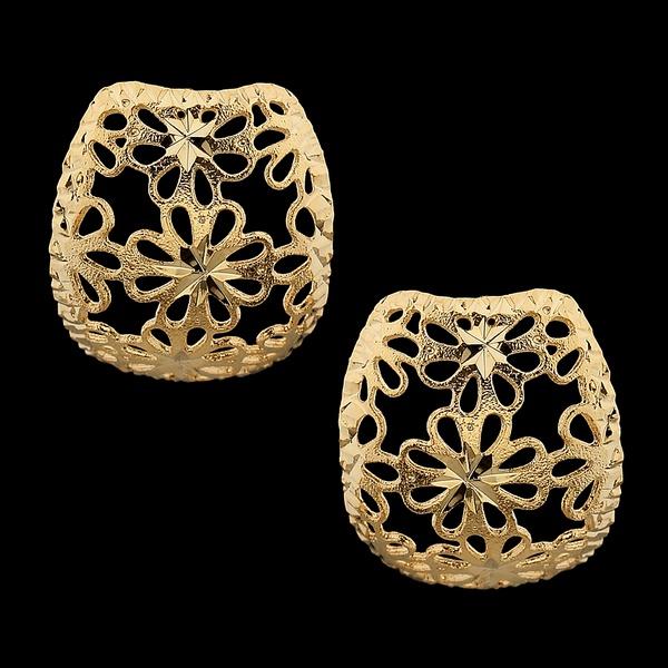 Brinco folheado à ouro 18k Chapa floral