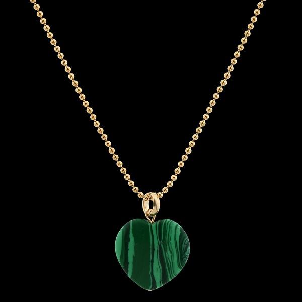 Colar Folheado a Ouro Bolinhas com Pedra Natural Malaquita
