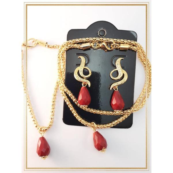 Conjunto folheado à ouro 18k Cristais Vermelhos 3 peças