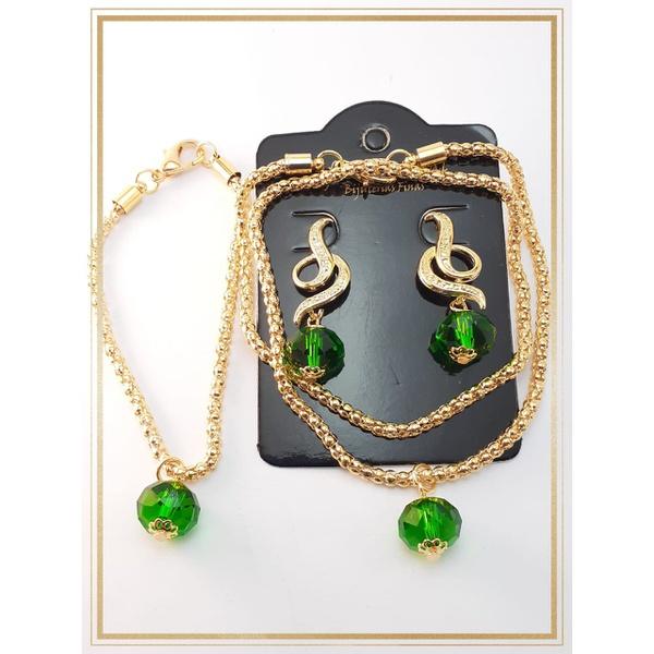 Conjunto folheado à ouro 18k Cristais Green 3 peças
