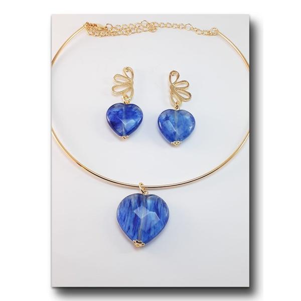 Conjunto folheado à ouro 18k Fashion Blue