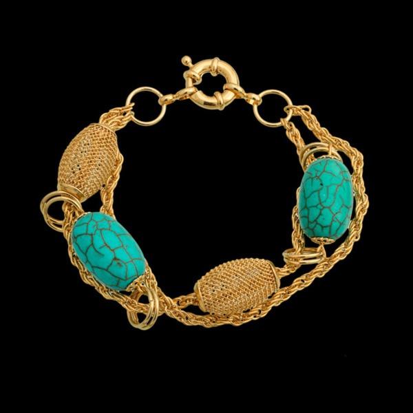 Pulseira folheada à ouro 18k com pedra natural turquesa azul do oceano
