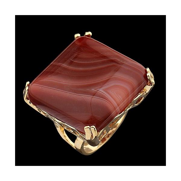Anel Folheado a Ouro com Pedra Natural Quadrado