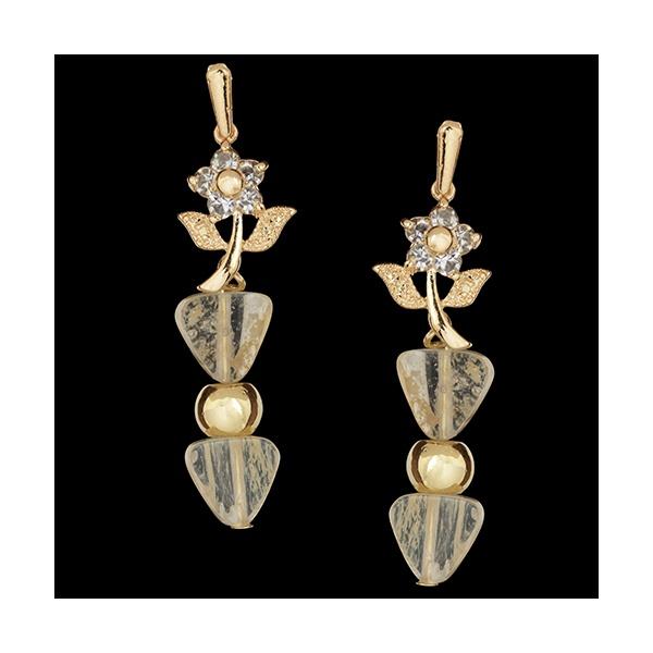 Brinco Folheado à Ouro com Flor e Pedra Cristal Rutilado