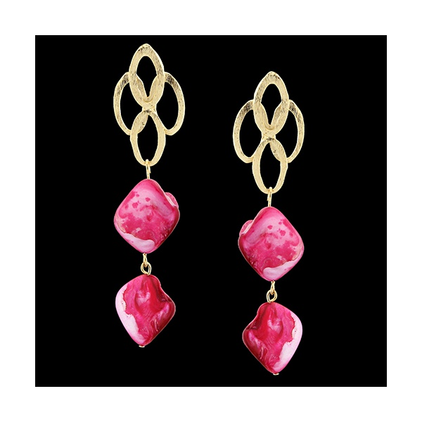 Brinco Folheado à Ouro 18k Rosa Pink