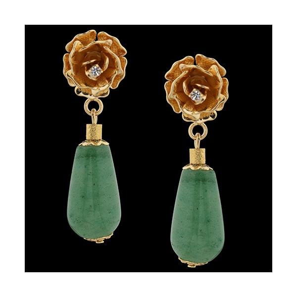 Brinco folheado à Ouro 18k Flor de Quartzo Verde