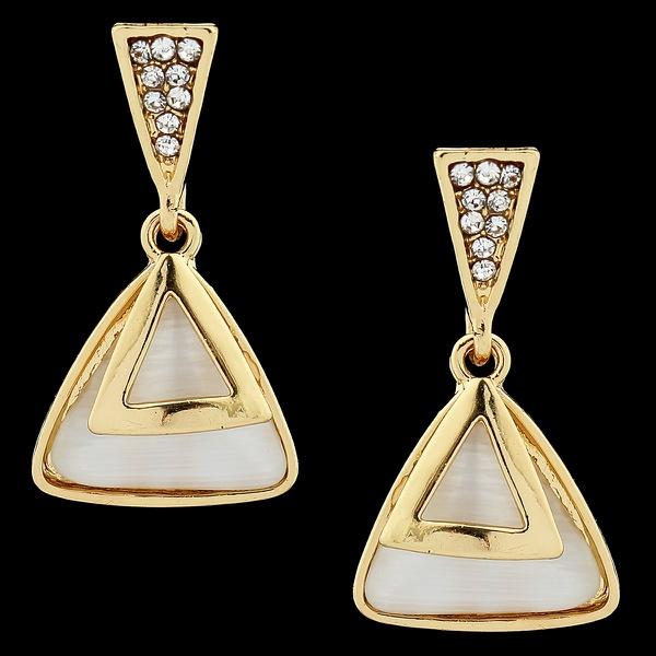 Brinco folheado à Ouro 18k MadrePeróla Triangular Sobrepostos