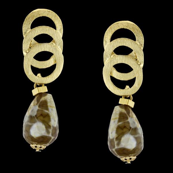 Brinco folheado à ouro com pedra natural coral