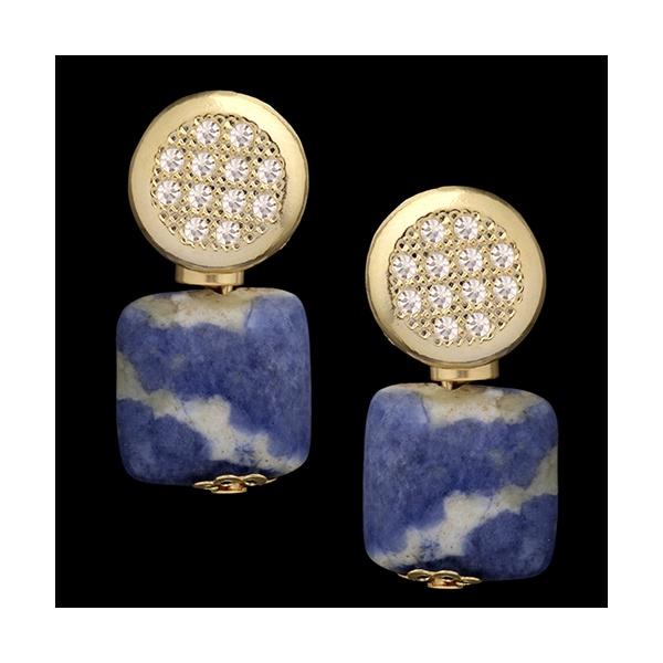 Brinco folheado à ouro 18k lazuli cravejado