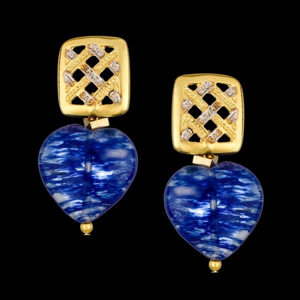 Brinco Folheado com Pedra Natural Fashion Blue